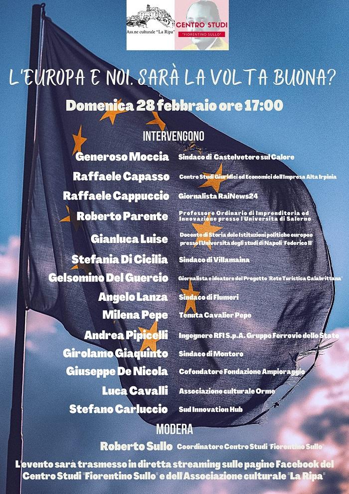 """Castelvetere sul Calore (AV): tavola rotonda dal titolo """"L'Europa e noi. Sarà la volta buona?"""""""