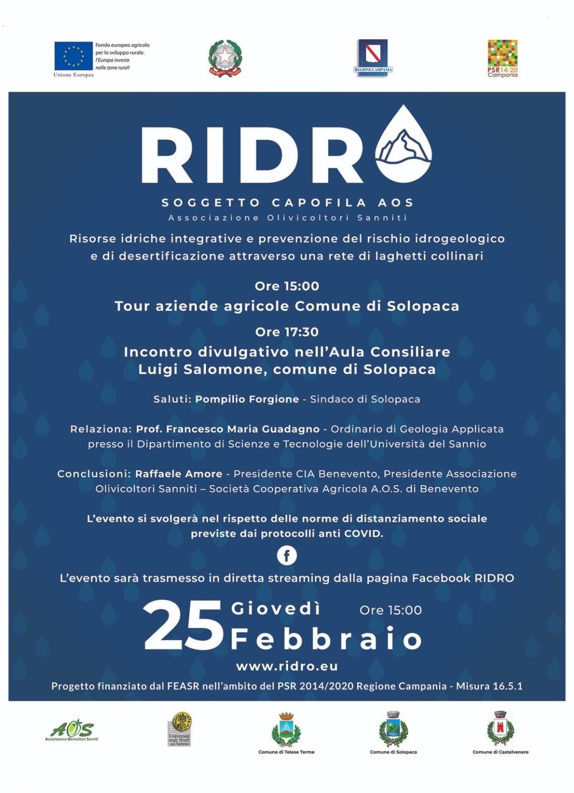 Valle Telesina, Progetto Ridro, mercoledì un incontro divulgativo via web
