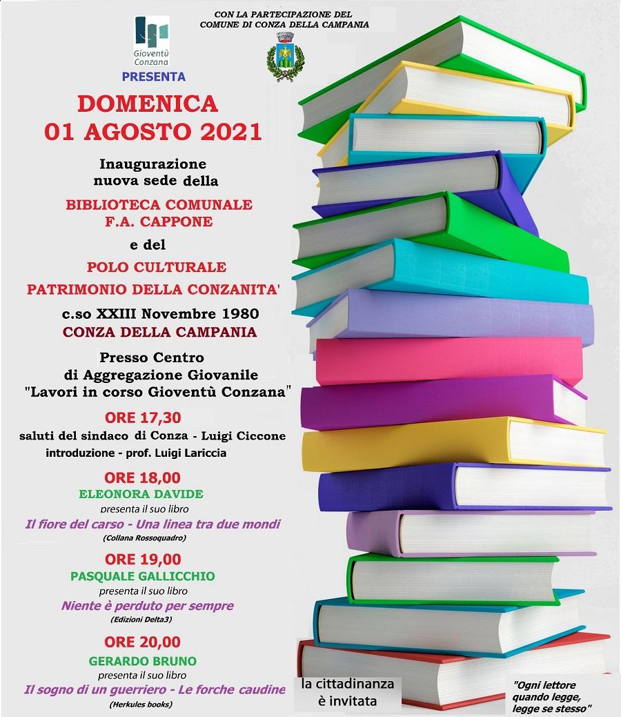 Apertura nuova sede Biblioteca F.A. Cappone Comune di Conza della Campania (AV)