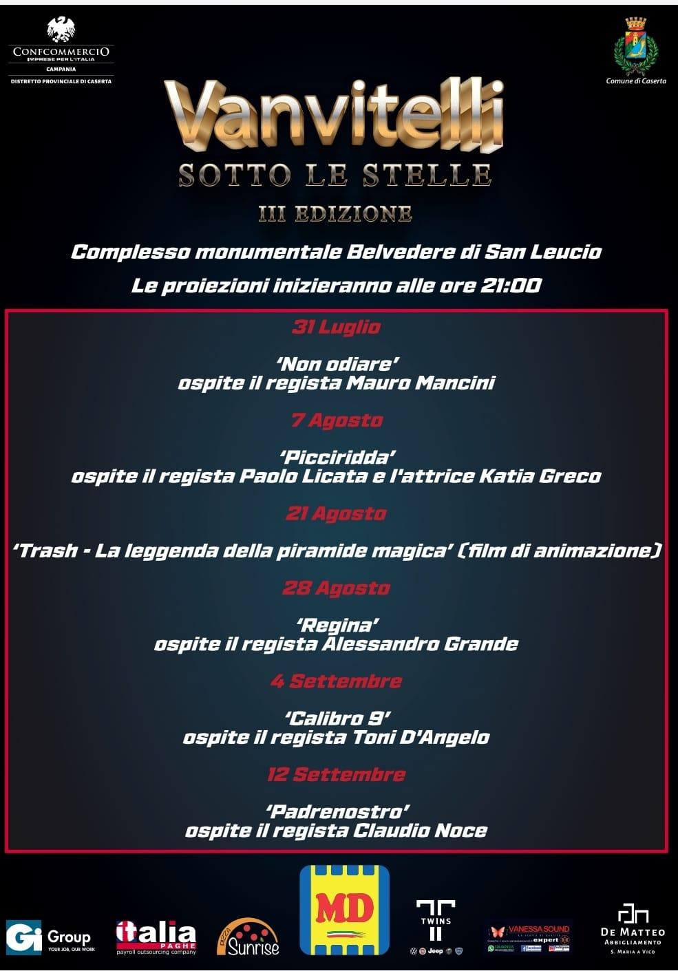 """Caserta: """"Vanvitelli sotto le stelle"""", al via la terza edizione della rassegna di cinema ideata da Confcommercio"""