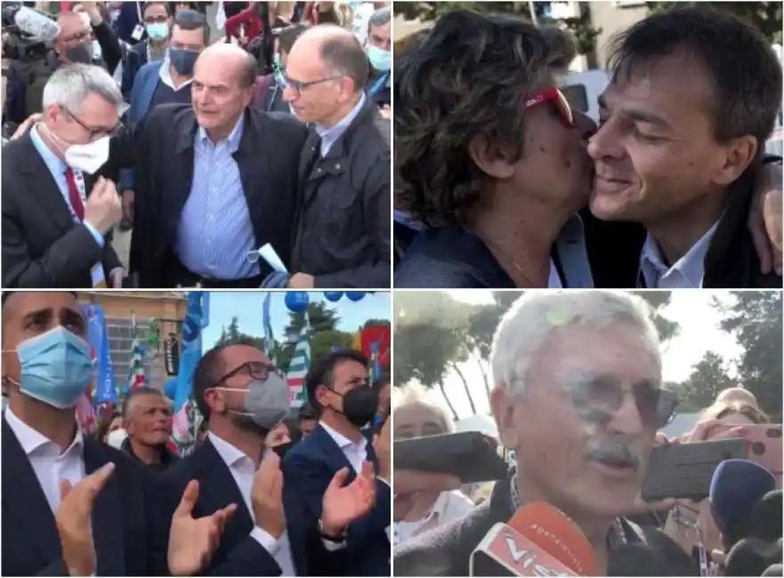 Manifestazione dei sindacati a San Giovanni: selfie, Bella ciao e operai in tuta tra Letta e Di Maio